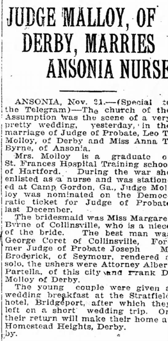 leo molloy wedding 22 nov 1923 bridgeport telegram -