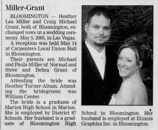 Craig Michael Grant and Heather Lea Miller wedding -