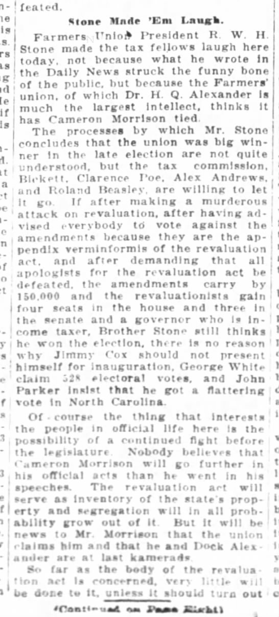 Greensboro Daily News   11-8-1920 -