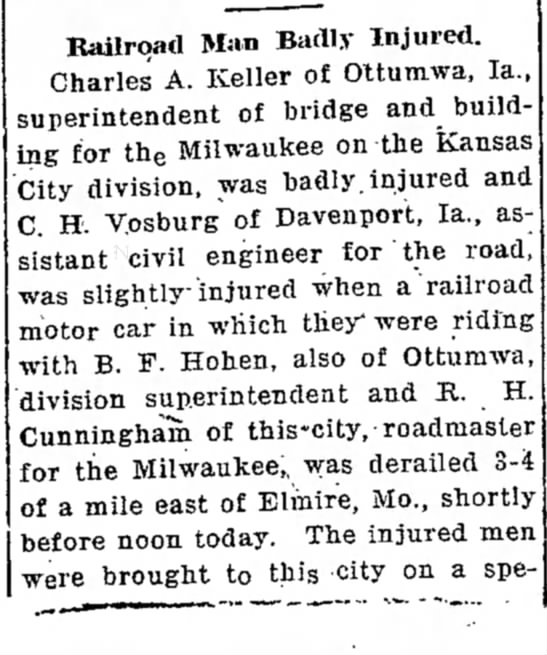 Part 1 of 2 mentions C.H. Vosburg of Davenport, IA - Railroad Men Injured -