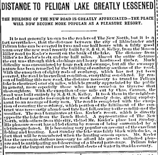 Mason Miller - DISTANCE TO PELICAN LAKE GREATLY LESSENED THE...