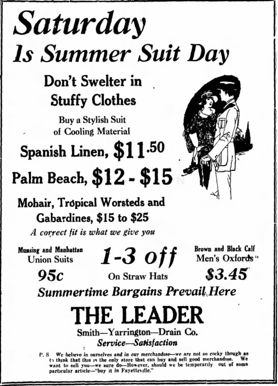 - SHOP Saturday Is Summer Suit Day Don't Swelter...