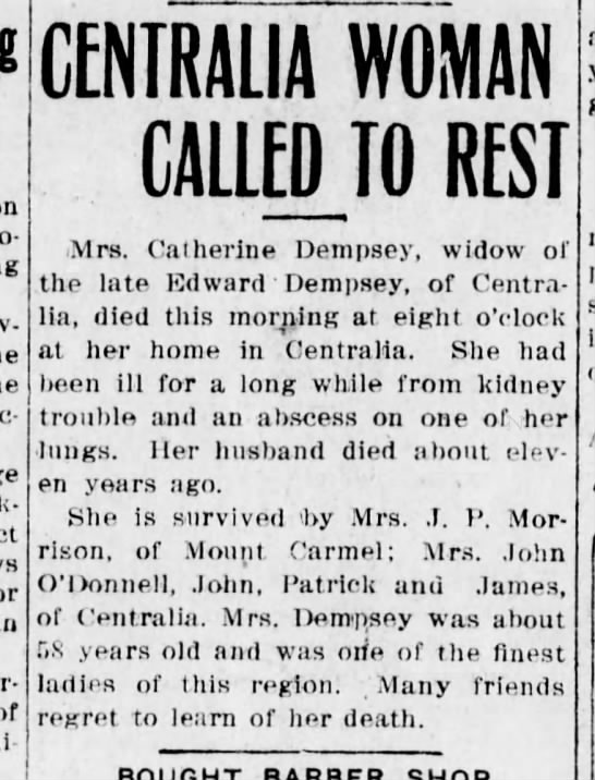 Mrs. Catherine Dempsey Death -