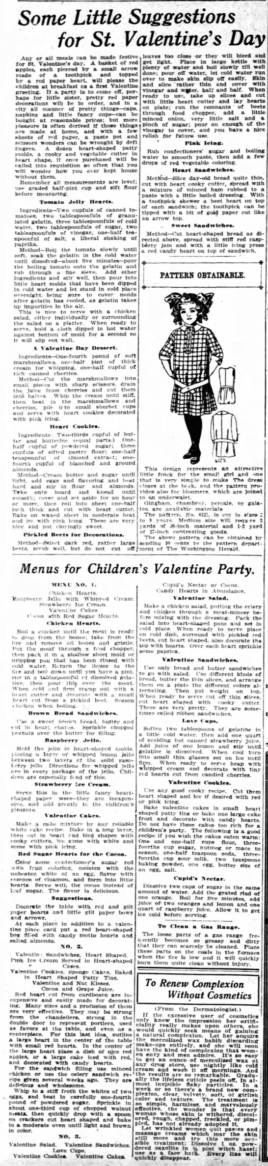 Valentine's recipes from 1913 -