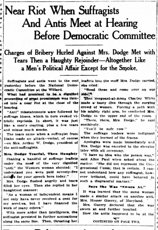 """Anti-Suffragists and Suffragists """"riot"""" (1915). -"""