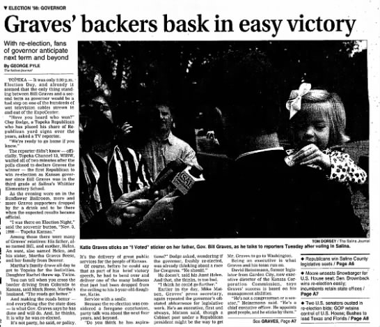 Gov. Bill Graves - T ELECTION '98: GOVERNOR Graves' backers bask...