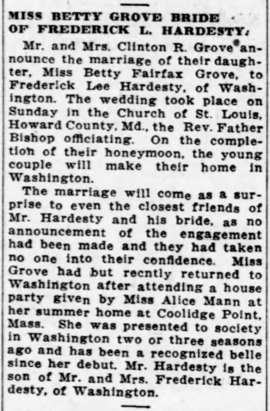 Betty Grove Marriage Announcement to Frederick Hardesty 8-15-1922 -