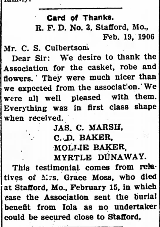 Card of Thanks - Grace Moss - The Iola Register 22 Feb 1906 Page 8 - Card of Thanks. R. P. D. No. 3, Stafford, Mo.,...