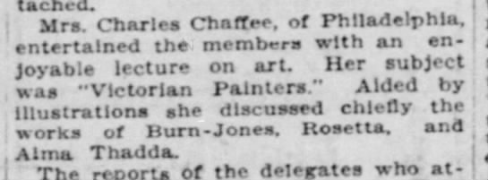Mrs. Charles Chaffee gives lecture on art -