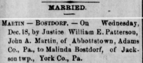 Martin-Bostdorf marriage in 1878 York County, Pa. Relative? -