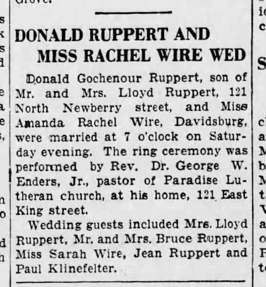 Donald Ruppert n Rachel Wire Wed - Mon Sept 9 1935 - DONALD RUPPERT AND MISS RACHEL WIRE WED Conald...