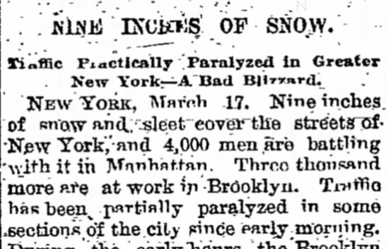 New York City Gets 9 Inches of Snow -