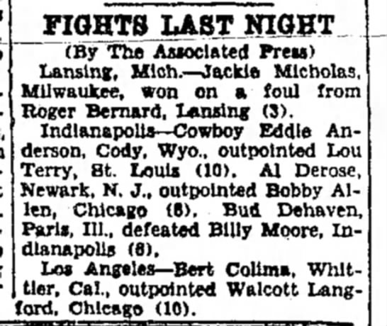 "Homer "" Bud"" Dehaven Boxing Match -"