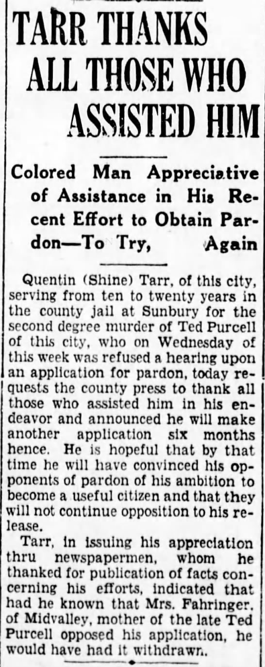 Tarr thanks those whom helped him in trying to obtain a pardon 10/22/1932 -