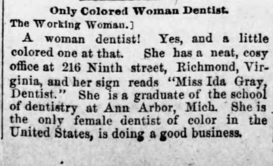 Only Colored Woman Dentist. Pittsburgh Dispatch (Pittsburgh, Pennsylvania) August 9, 1891, p 15 -