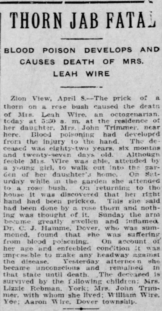 Leah (Altland) Wire obituary -
