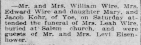 Mr. & Mrs William Wire attended his Mother's funeral 14 Apr 1914 -