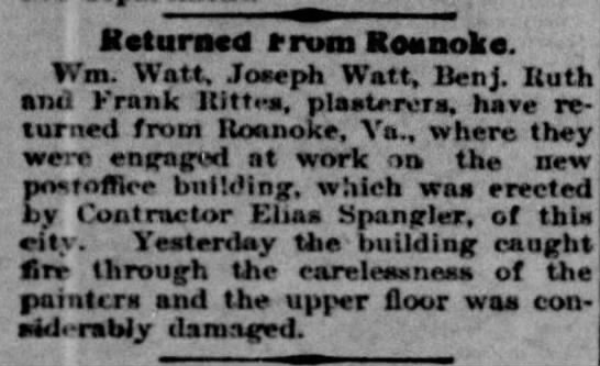 Brothers William H. Watt and Joseph Watt work in Roanoke, Virginia -