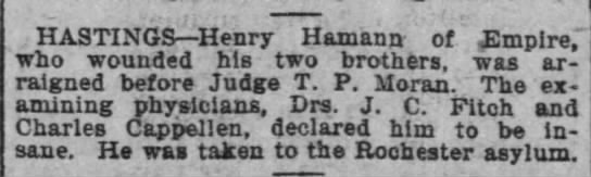 Henry Hamann declared insane--Minneapolis Journal, 11 Feb 1901 -