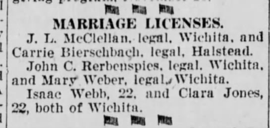 Marriage License - J L McClellan and Carrie Bierschbach -
