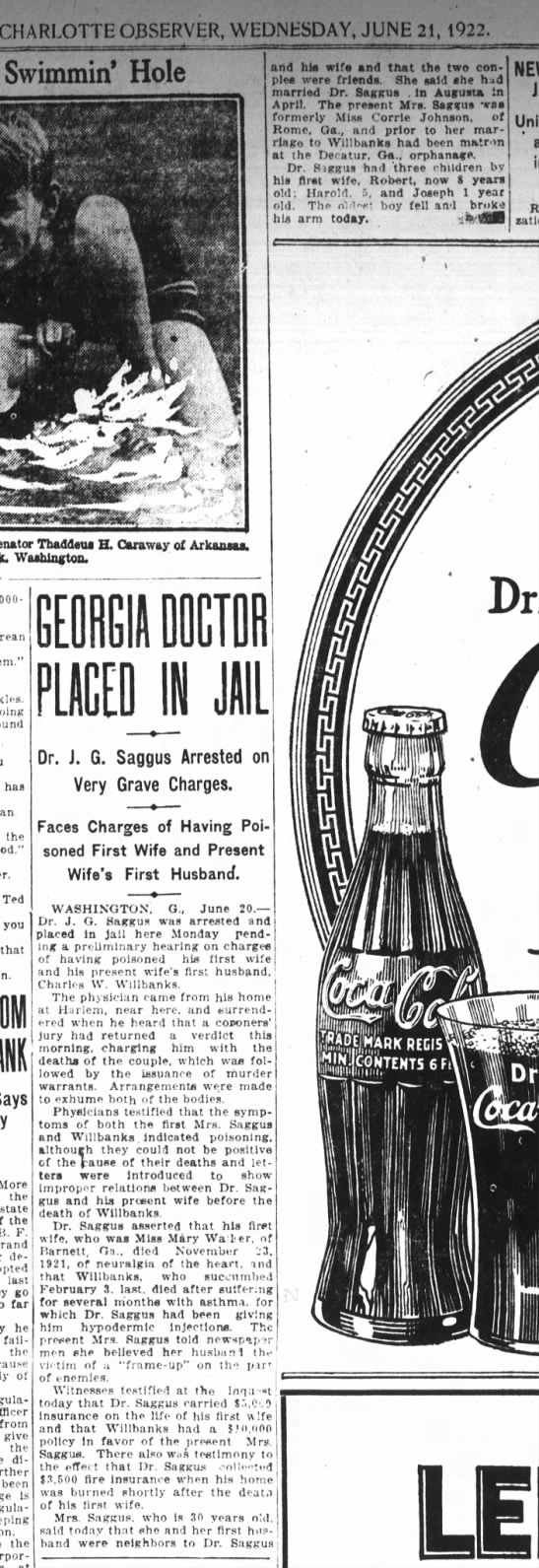 Charlotte Observer 21 Jun 1922, Page 15: Dr. Saggus, Georgia Doctor Arrested -