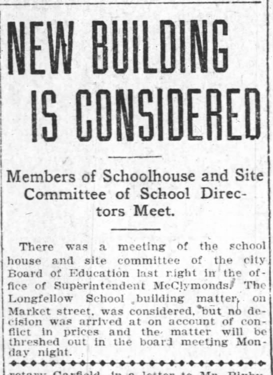 New Building is Considered - Longfellow  Apr 14, 1907 -