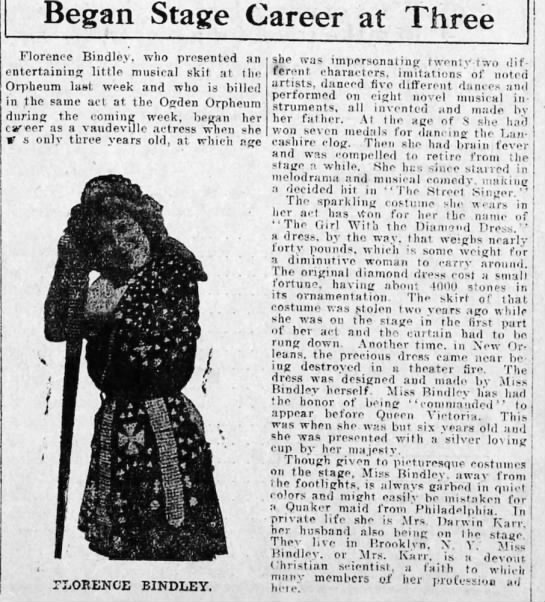 Florence Bindley's child performing career (1910) -