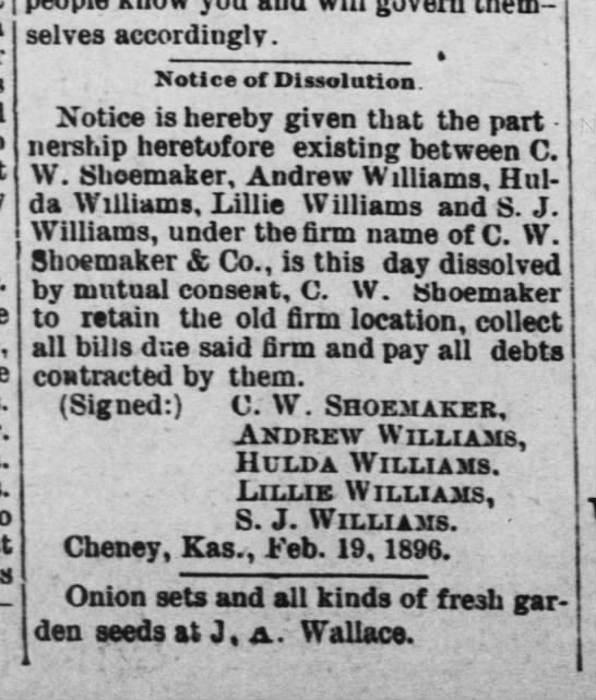 Dissolution of C.W. Shoemaker & Co. -