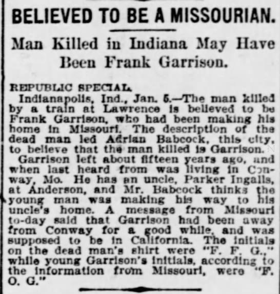 St Louis Republic, 6 Jan 1901, p 16. Frank Garrison, Adrian Babcock, Parker Ingalls. -