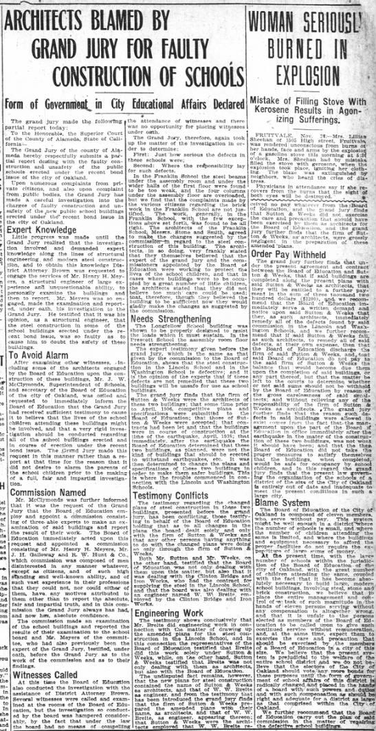 Architects Blamed By Grand Jury - Nov 24, 1908 -