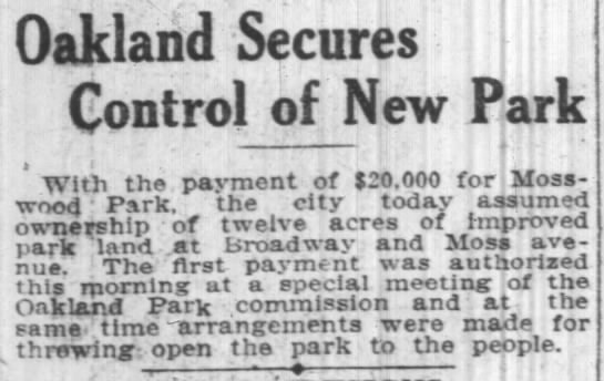 first payment of $20,000 -- park to open! -