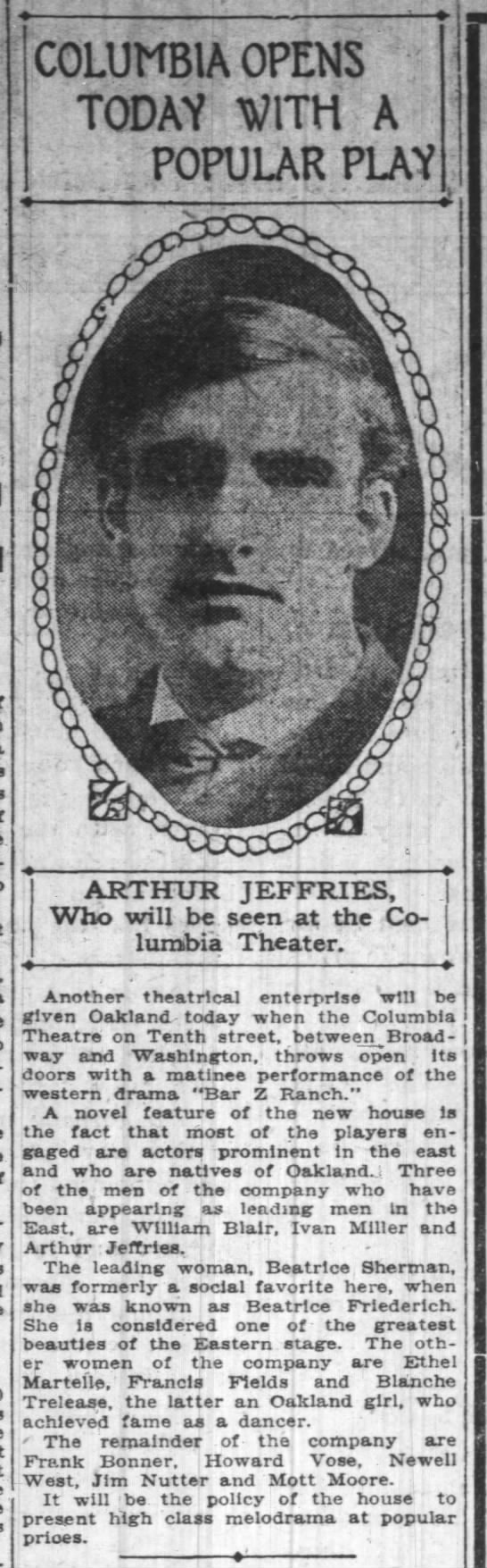 """Columbia Theatre -- opens with """"Bar Z Ranch"""" featuring Arthur Jeffries -"""