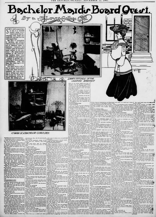 Realistic look at bachelor girls' housing options, 1903 -