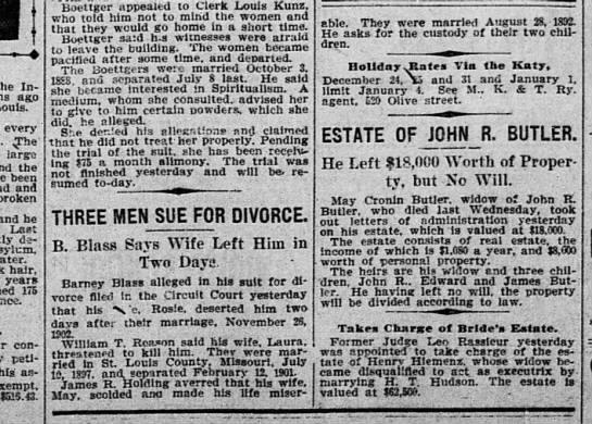 St. Louis, MO. Dec. 1903, divorce, James R. Holding. -