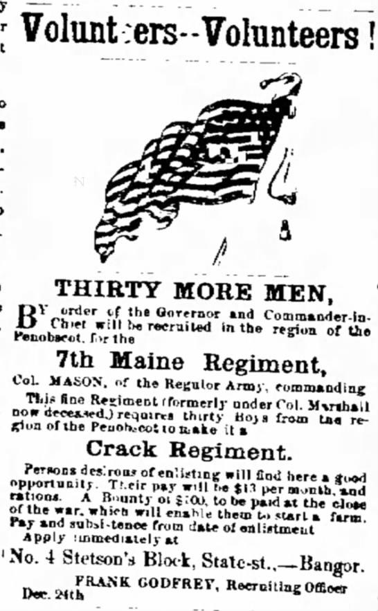 Maine Regiment Recruiting for Civil War Service -