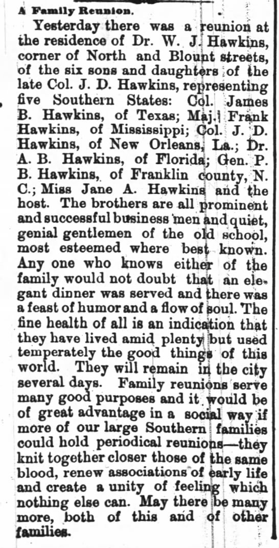 Hawkins Family Reunion in Raleigh - 1887 -