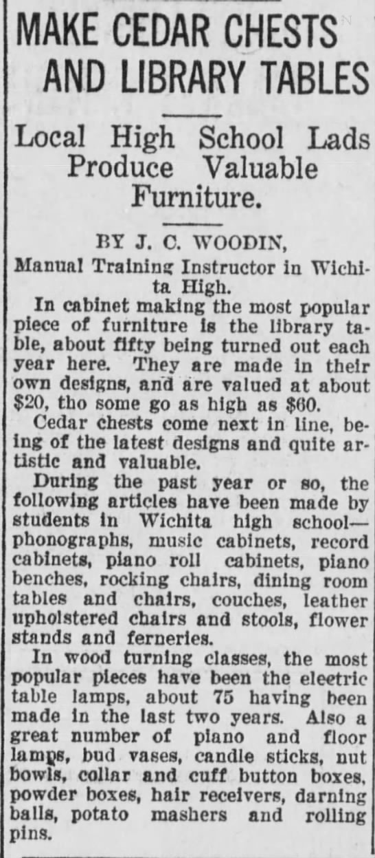 Wichita Beacon 2 Oct 1920 J. C. Woodin Manual Training Instructor -