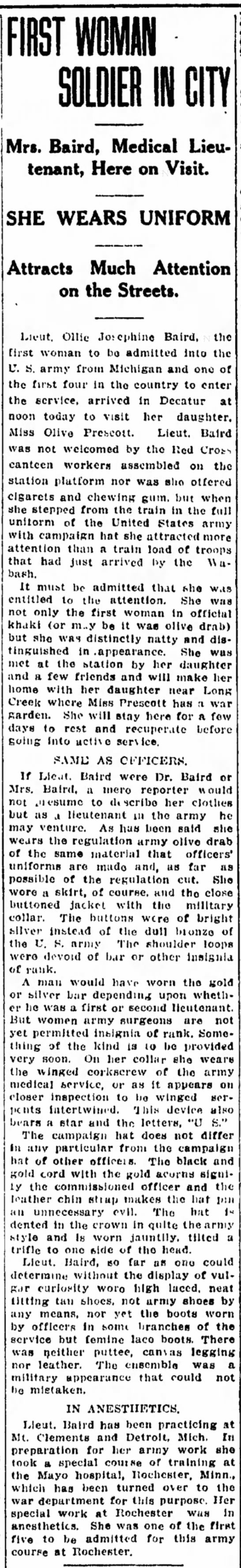 Lieutenant/Dr Ollie (Stackhouse) Baird visit and description - g for the men to be five train Louis m. N. on...