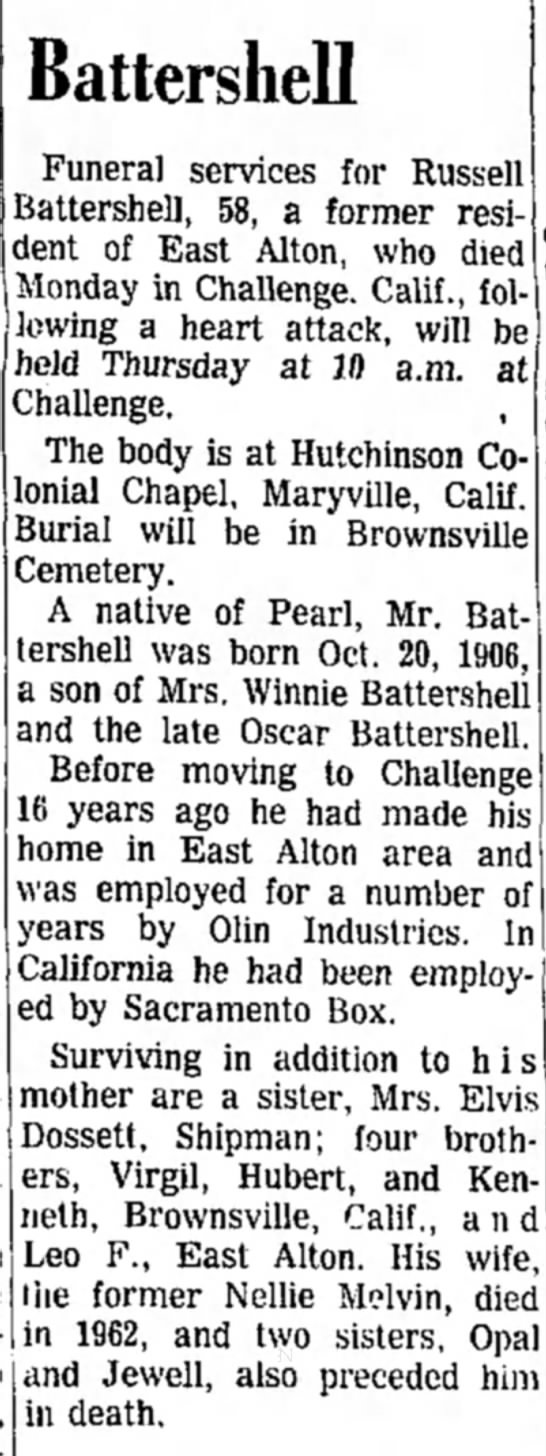 Russell Battershell obituary - From Alton Evening Telegraph  16 Dec 1964 page 26 -