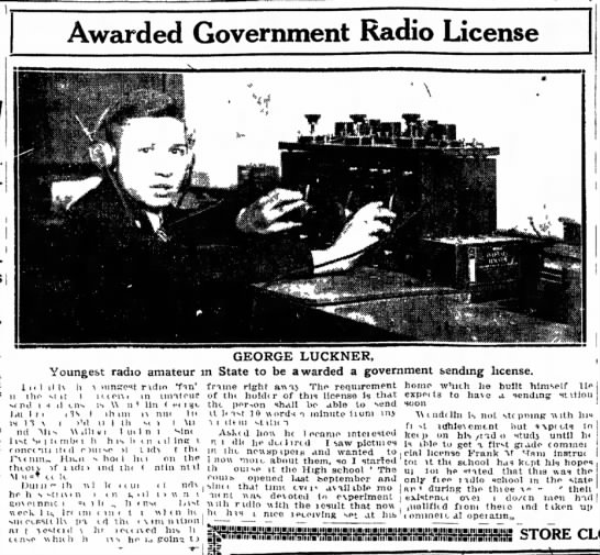 George Luckner - Youngest radio amateur in CT to be awarded a government sending license -