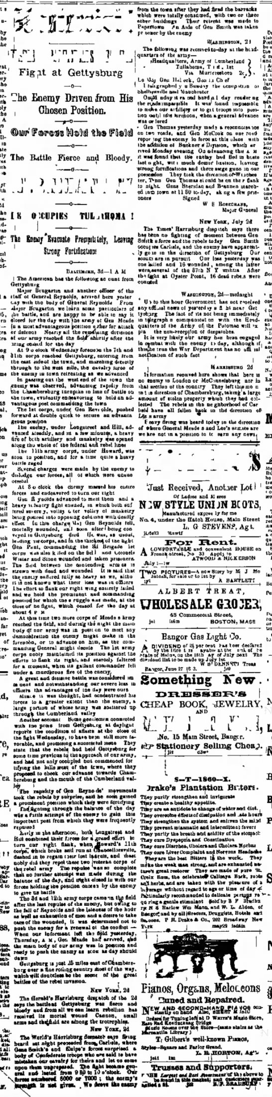 Battle Gettysburg-Bangor Daily Whit and Courier, Maine-3 Jul 1863-p3 -
