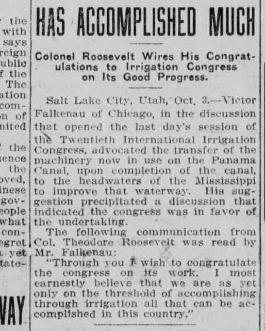 Machinery transfer from Panama Canal, Oct 3 1912, Wichita Beacon -