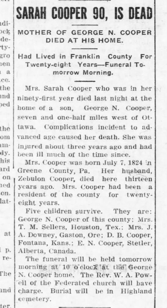 Sarah Cooper obituary April 5, 1915 -