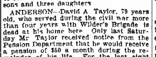 David A. Taylor death, Anderson, IN 1915 -