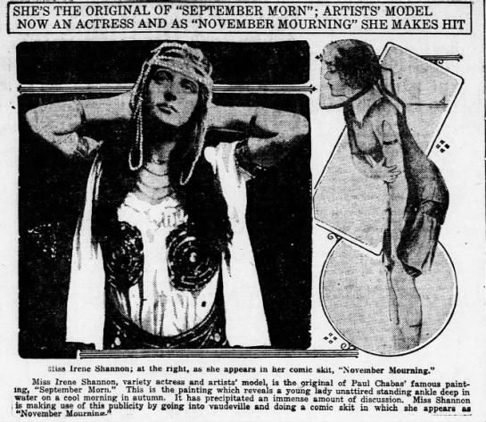 Actress claims to be the model for September Morn 1913 -