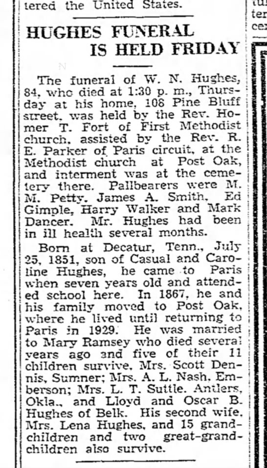 W.N. Hughes Obit Paris News 8 Dec 1935 -
