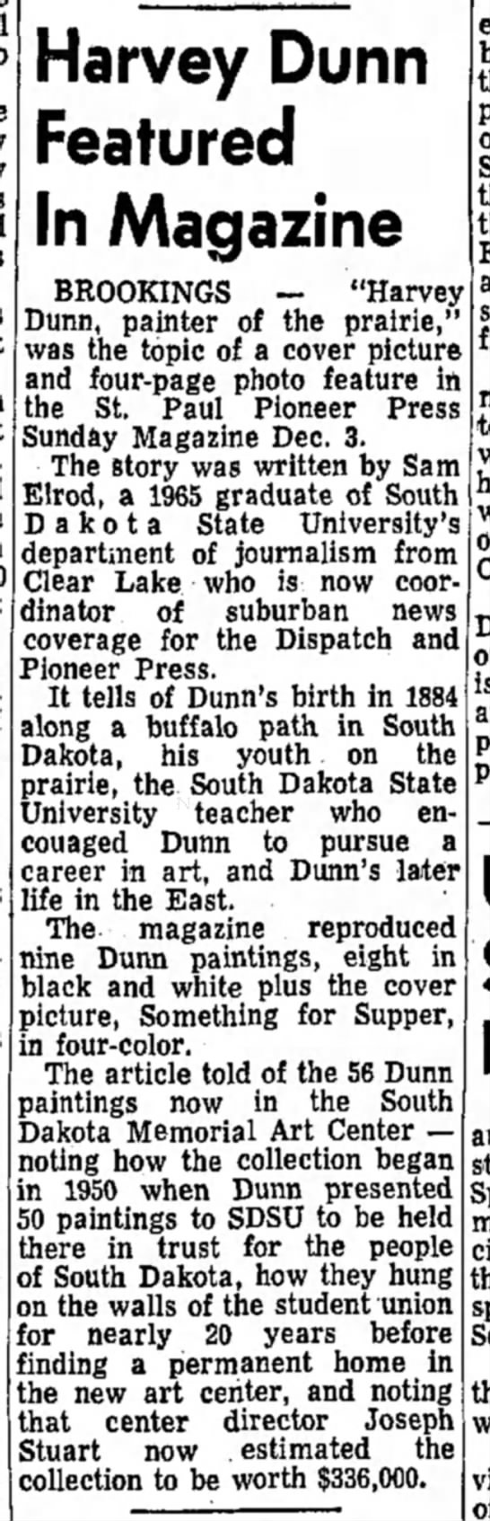 Harvey Dunn in Mag, The Daily republic, 15 Dec 1972 -