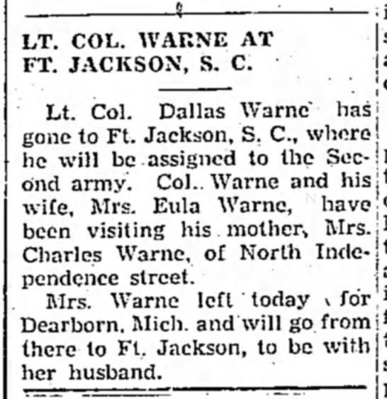 Tipton Tribune 6 Feb 1945 page 6 col 2 - ^ 6 - . LT. COL. WARNE AT FT. JACKSON, S. C....
