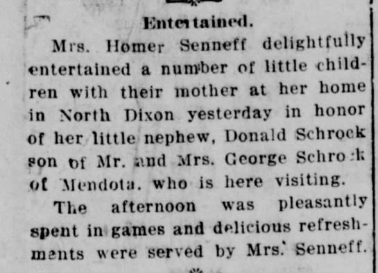 Mrs Homer Senneff of North Dixon hosts party for nephew Donald Schrock -
