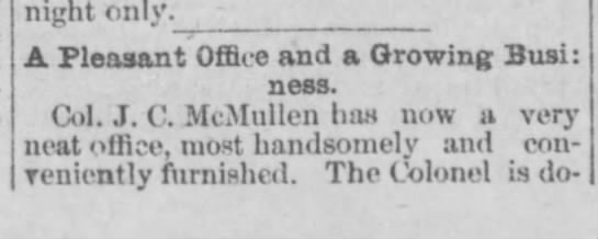 Col. J.C. McMullen (A Pleasant Office-part 1) -